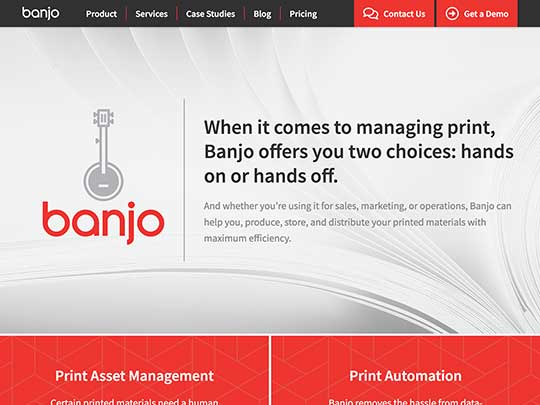 Screenshot of Banjo website